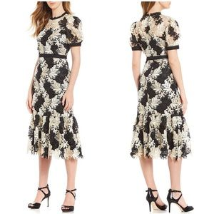 Antonio Melani • Tessa Lace Midi Dress Black Gold